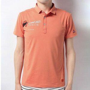 定価16500円【Mサイズ ルコック】GOLF ポロシャツ オレンジ 吸汗速乾 接触涼感 クールドライ UVケア ストレッチ