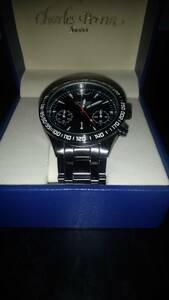 CHARLES PERRIN シャルルペリン 世界限定 クロノグラフ 腕時計 BLACK×BLACK ガンメタ 黒
