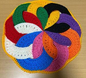 ハンドメイド座布団 手編み