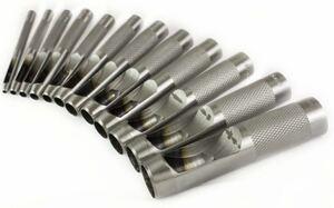 【送料無料】 Bigtron 革穴パンチ ベルト穴あけ機 中空 12本セット 3mm-14mm ハトメ抜き丸い穴あけ レザーツール