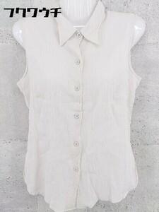 ◇ agnes b. アニエスベー フランス製 ノースリーブ シャツ サイズ2 ベージュ系 レディース