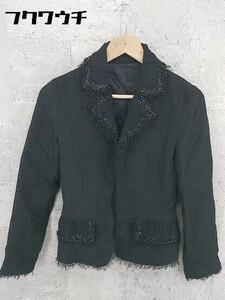 ◇ NOVESPAZIO ノーベスパジオ ビジュー 長袖 ジャケット サイズ38 ブラック レディース