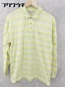 ◇ Munsingwear マンシングウェア チェック柄 長袖 ポロシャツ サイズMA イエロー メンズ