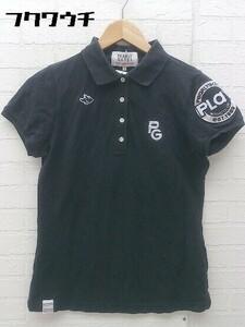 ◇ ◎ pearly gates パーリーゲイツ 半袖 ポロシャツ サイズ0 ブラック ホワイト レディース