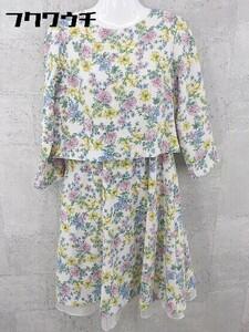 ◇ ●美品● couture brooch クチュール ブローチ 花柄 長袖 膝下丈 ワンピース サイズ38/M マルチ レディース