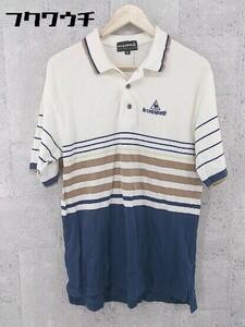 ◇ ◎ le coq sportif ルコックスポルティフ ボーダー 半袖 ポロシャツ サイズM アイボリー ネイビー ブラウン メンズ