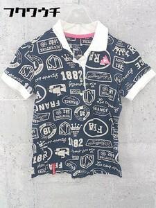 ◇ le coq sportif ルコックスポルティフ 総柄 半袖 ポロシャツ サイズS ネイビー ベージュ レディース