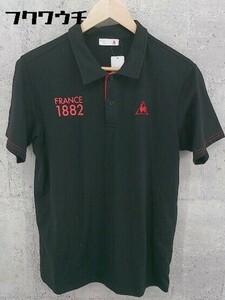 ◇ le coq sportif ルコックスポルティフ 半袖 ポロシャツ サイズL ブラック レッド メンズ