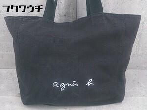 ◇ agnes b. アニエスベー キャンバス トート ハンド バッグ ブラック レディース