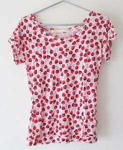 美品 レイビームス Ray BEAMS カットソー Tシャツ さくらんぼ柄 赤 テンセル 落ち感 薄手 レディース Lサイズくらい