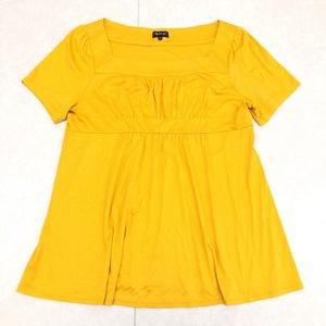 美品 INDIVI インディヴィ スクエアネック カットソー 42 マスタード レディース 婦人 半袖 ゆったり 大きいサイズ XL LL 2L 日本製