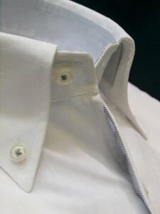 ◇処分M-38白無地ホワイト織柄入/レギュラーカラー/ボタンダウン/形態安定/半袖ワイシャツビジネス新品即決
