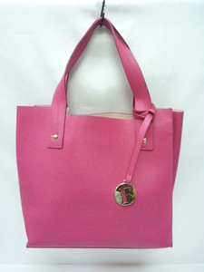 FURLA フルラ ハンドバッグ トートバッグ ピンク ビビッドピンク ロゴチャーム レザー ピンク 美品
