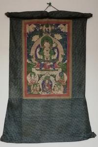 時代 チベット タンカ 曼荼羅 仏画 挂軸 肉筆 仏画 佛画 仏教美術曼荼羅寺院仏教経典法具