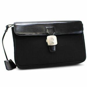 ダンヒル セカンドバッグ クラッチバッグ 鍵付き ナイロン×レザー ブラック 中古 Bランク dunhill |メンズ 男性用 ビジネスバッグ 人気