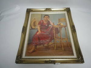 「油絵~紅衣の女性」額装品【送料無料】「熊五郎の宝物」00410012