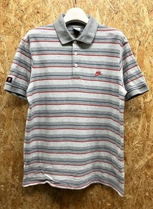NIKE ナイキ L メンズ ポロシャツ 鹿の子 マルチボーダー柄 ロゴ刺繍 袖にワッペン 半袖 綿100% ヘザーグレー×レッド×ネイビー