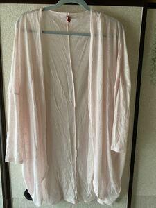 【H&M】ピンクロングカーディガン  薄ピンク Lサイズ 透け感