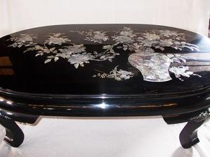 螺鈿細工 中国美術 黒塗り 伝統工芸 座卓 テーブル センターテーブル