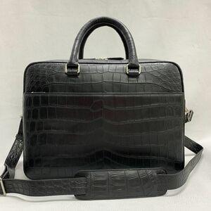 ナイルワニ革 クロコダイルレザー ニロティカス 本革 RiRiファスナー A4/PC ブリーフケース 通勤用 メンズ トートビジネス ハンドバッグ 鞄
