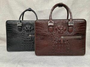 クロコダイル レザー ワニ革 本革 斜め掛け トート ショルダーバッグ A4書類対応 ブリーフケース 旅行通勤出張 ビジネス ハンドバッグ 鞄