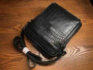 クロコダイル レザー ワニ革保証 本革 腹部革 2way 斜め掛け ショルダーバッグ ボディバッグ ビジネス 通勤 鞄 メンズ 男女兼用