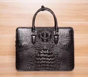クロコダイル ロック付き ワニ革保証 背部分 レザー 本革 大容量 A4/PC対応 ビジネス 鞄 ブリーフケース 出張 通勤 メンズ ハンドバッグ