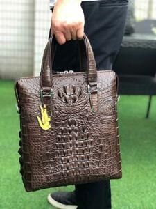クロコダイル ワニ革 レザー本革 斜め掛け ショルダーバッグ A4対応 ブリーフケース ビジネス 鞄 旅行通勤出張 メンズ トート ハンドバッグ