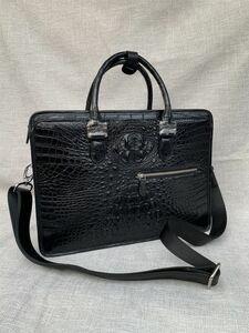 クロコダイル ワニ革 レザー 本革 斜め掛け トート ショルダーバッグ A4書類対応 ブリーフケース 旅行通勤出張 ビジネス ハンドバッグ 鞄