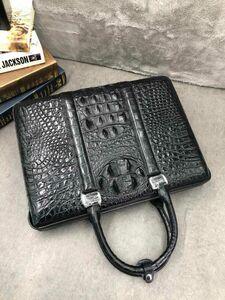 クロコダイル ワニ革 レザー 本革 背部 2way ショルダー付き ブリーフケース メンズ トートバッグ ビジネスバッグ 出張用 通勤用 PC対応 鞄