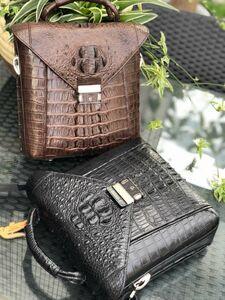 ワニ革保証 クロコダイル レザー 背部革 本革 メンズ トートバッグ 大容量 2way 斜め掛け ショルダーバッグ 手提げ 通勤 ハンドバッグ 鞄