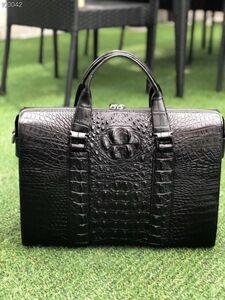 クロコダイル ワニ革保証 背部分 レザー 本革 大容量 A4/PC対応 ビジネス 鞄 ブリーフケース 出張 通勤 旅行 メンズ トート ハンドバッグ