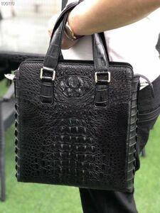 クロコダイル ワニ革 レザー 本革 斜め掛け トート ショルダーバッグ A4/PC対応 ビジネス 鞄 ブリーフケース 出張通勤 メンズ ハンドバッグ