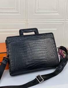 クロコダイル ワニ革保証 レザー 本革 2way 斜め掛け ショルダーバッグ ビジネス トート ハンドバッグ A4/PC対応 ブリーフケース 鞄 通勤
