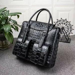 クロコダイル ワニ革本革 背部 レザー 斜め掛けショルダーバッグ A4書類対応ブリーフケース ビジネス 鞄 出張通勤旅行 メンズ ハンドバッグ