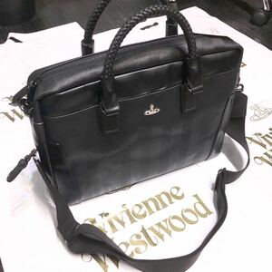 送料込●新品●Vivienne Westwood 2way大容量ショルダービジネスバッグ 黒 PVCレザー×牛革 ヴィヴィアンウエストウッド ビビアン