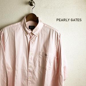 美品 PEARLY GATES パーリーゲイツ 長袖 ボタンダウン シャツ 5 コットン 100% ピンク ラビット メンズ ゴルフ ウェア ファッション 日本製