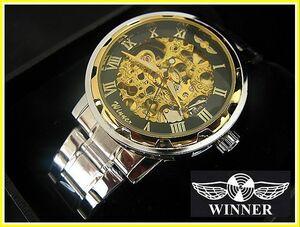 WINNER/ウイナー☆フルスケルトンメンズ腕時計(BCG32/ゴールド×ステンレス/自動巻き/透かし彫り/メタルバンド)新品未使用
