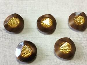 ☆☆8 ボタン 茶×金 高級ボタン 5個セット 昭和後期~平成前期ごろ 送94円~