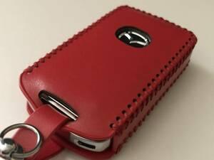 牛革 マツダ3 ジャストフィット スマートキーケース 赤色 カラナビ付き CX-30 CX-5 CX-8 セダン ファーストバック ロードスター等 d