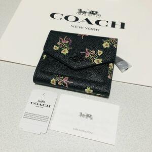 ☆COACH コーチ F28445 スモールウォレット ウィズフローラルボウプリント 三つ折り財布 黒 ブラック 花柄★