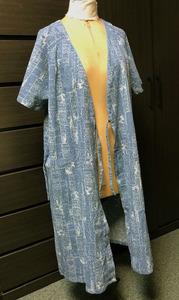 未使用ヴィンテージ90s日本製★ロング羽織ブラウス★エスニックなバティック風プリント★コットン100%揚柳素材