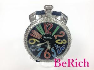 Relove メンズ 腕時計 黒 ブラック 文字盤 SS レザー クォーツ QZ 【中古】 ht479