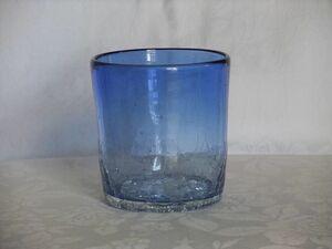 【新品】琉球ガラス☆焼きヒビ装飾・ロックグラス★青色