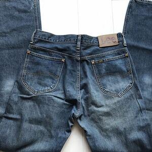 【即決】W31 リー Lee ストレート ライダース RIDERS デニムパンツ 日本製 綿100% ユーズヒゲ加工 裾チェーンステッチ