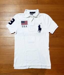★未使用 POLO RALPH LAUREN USA ラルフローレン 鹿の子ポロシャツ XS ホワイト