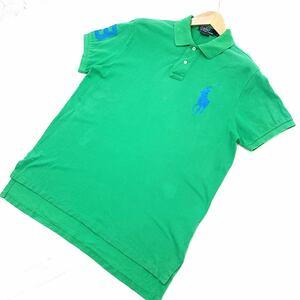 ■ポロラルフローレン POLO RALPH LAUREN 緑 グリーン 【人気のビッグポニー♪】 半袖ポロシャツ Lサイズ カスタムフィット スリム■G46