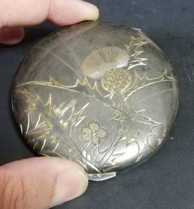 銀製 鏡 唐草 地紋 彫刻 SILVER印 シルバー ハンドミラー 保管品 コンパクト