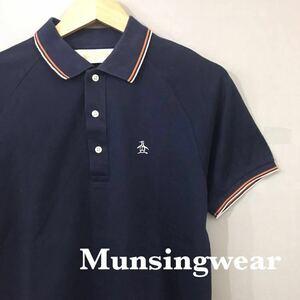 マンシングウェア Munsingwear ポロシャツ ゴルフ 鹿の子 デサント 日本製 ロゴ 刺繍 半袖 トップス 男性用 ネイビー メンズ Mサイズ ♭