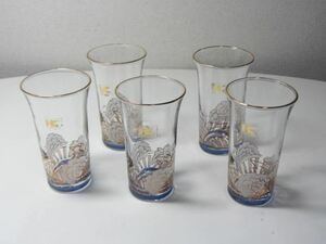 ヒロココシノ 一口ビールグラス5客 モダンで洒落た絵柄デザインの和風グラス 来客時の食卓の食前酒にもおしゃれ